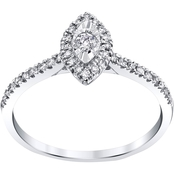 10K White Gold 1/4 CTW Marquise Shape Halo Engagement Ring