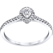 10K White Gold 1/4 CTW Pear Shape Halo Engagement Ring