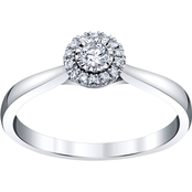 10K White Gold 1/6 CTW Halo Engagement Ring
