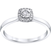 10K White Gold 1/6 CTW Square Halo Engagement Ring