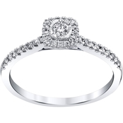 10K White Gold 1/4 CTW Square Halo Engagement Ring