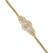 14K Tricolor Gold Our Lady of Guadalupe Bracelet