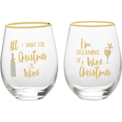 Celebrations by Mikasa 2 Pc. All I want and Dreaming Of Stemless Wine Glass Set