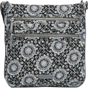 Vera Bradley Iconic Triple Zip Hipster Crossbody, Charcoal Medallion