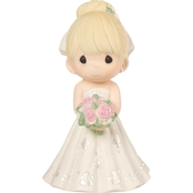 Precious Moments Mix and Match Bride Wedding Cake Topper, Blonde Hair / Light Skin