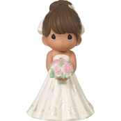 Precious Moments Mix and Match Bride Wedding Cake Topper, Brown Hair / Light Skin
