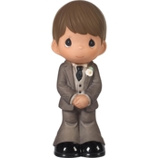 Precious Moments Mix and Match Groom Wedding Cake Topper, Brown Hair / Light Skin