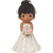 Precious Moments Mix and Match Bride Wedding Cake Topper, Black Hair / Dark Skin