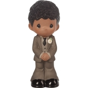 Precious Moments Mix and Match Groom Wedding Cake Topper, Black Hair / Dark Skin