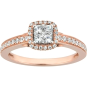 10K Rose Gold 1/2 CTW Princess Cut Shape Center Diamond Engagement Ring Size 7