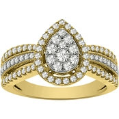 10K Yellow Gold 4/5 CTW Pear Shaped Diamond Ring Size 7