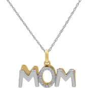 Sterling Silver Yellow Plated 1/10 CTW Mom Shadow Pendant