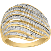 10K Yellow Gold 1 CTW 9 Row Fashion Ring