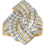 10K Yellow Gold 2 CTW Bypass Fashion Ring