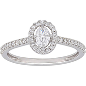 Diamore 14K White Gold 1/2 CTW Diamond Floating Halo Engagement Ring
