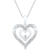 Sterling Silver Diamond Accent Fashion Pendant 18 in.