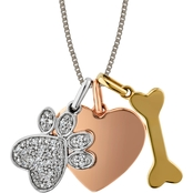 Sterling Silver and 10K Rose / Yellow Gold 1/10 CTW Diamond Heart Bone Paw Pendant