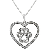 Sterling Silver Diamond Accent Paw Heart Pendant