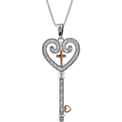 10K Rose Gold Over Sterling Silver 1/10 CTW Diamond Heart and Cross Key Pendant