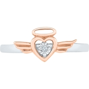 Sterling Silver and 10K Rose Gold Diamond Accent Fashion Ring