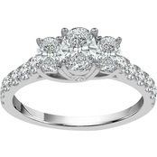 14K White Gold 1 CTW 3 Stone Ring