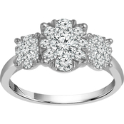 10K White Gold 3/4 CTW 3 Stone Ring