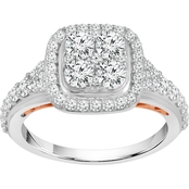 10K Two Tone 1 1/2 CTW Engagement Ring