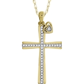10K Yellow Gold 1/6 CTW Diamond Cross Pendant With A Heart Dangle 18 in.