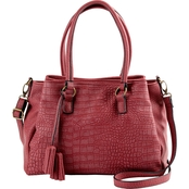 Bueno of California Vintage Grain Croco Satchel