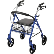 Drive Medical 4 Wheel Rollator Rolling Walker with Fold Up Removable Back Support