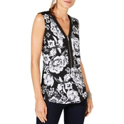 INC International Concepts Printed Zip Front Tank Top