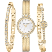 Anne Klein Women's Crystal Accented Chain Bracelet Watch and Bangle Set AK/3202GBST