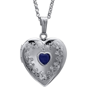 Sterling Silver Heart Locket Hand Engraved with Genuine Sapphire