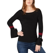 INC International Concepts Varsity Stripe Bell Sleeve Sweater