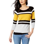INC International Concepts Color Blocked Zip Trim Sweater