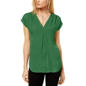 INC International Concepts Inverted Pleat V Neck Top