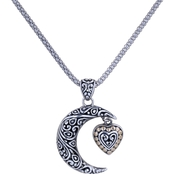 Robert Manse Designs Sterling Silver Moon & Heart Pendant 18K Gold Accents 18 in.