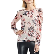 Vince Camuto Puff Shoulder Timeless Blooms Floral Blouse