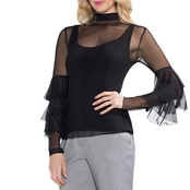 Vince Camuto Tiered Ruffle Stretch Mesh Top