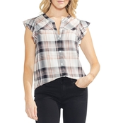 Vince Camuto Dobby Plaid Ruffle Cap Sleeve Button Down Blouse