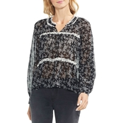Vince Camuto Ditsy Roses Mock Neck Blouse