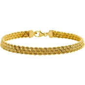 10K Yellow Gold 3-Row Rope Bracelet 7.5 in.