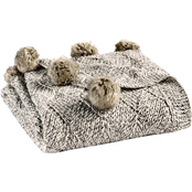 Martha Stewart Collection Marled Basketweave Faux Fur Pom Pom Throw 50 x 60 in.