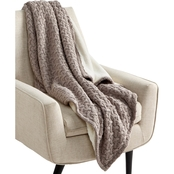 Martha Stewart Collection Sweaterknit Lattice Reversible 50 x 60 Faux Fur Throw