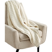 Martha Stewart Collection Sweaterknit Lattice Reversible Faux-Fur Throw 50 x 60 in.