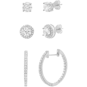 Sterling Silver over Rhodium Cubic Zirconia Earring Trio 3 pc. Set