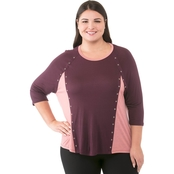 Michael Kors Plus Size Grommet Colorblock Top