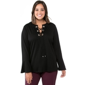 Michael Kors Plus Size Grommet Lace Up Bell Sleeve Top