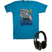 Buzzcuts Boys Muscle Car Smoke Tee with Gamer Headphones