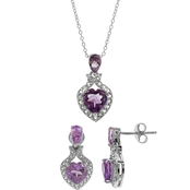 Sterling Silver 6mm Heart Amethyst and White Topaz 3 pc. Pendant and Earrings Set